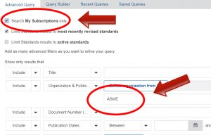 "Check the ""search My Subscriptions only"" box & type ASME in the second search box."