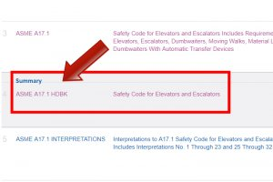 "Select the standard with the document number ""ASME A17.1 HDBK"" titled ""Safety Code for Elevators and Escalators"""