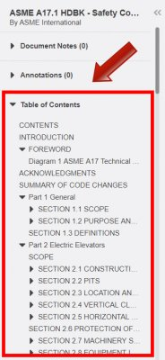 Locate the Table of Contents drop-down on the left side of the screen.